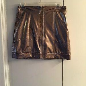 Rose Gold Metallic Mini Skirt